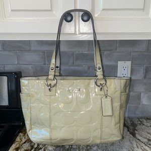 Coach Embossed Patent Leather Tote Purse Bag